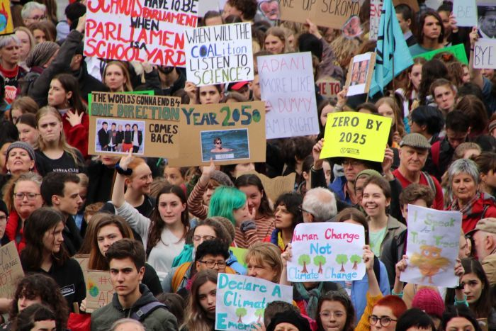 A sea of faces and signs at the Melbourne Climate change protest on May 24, 2019.