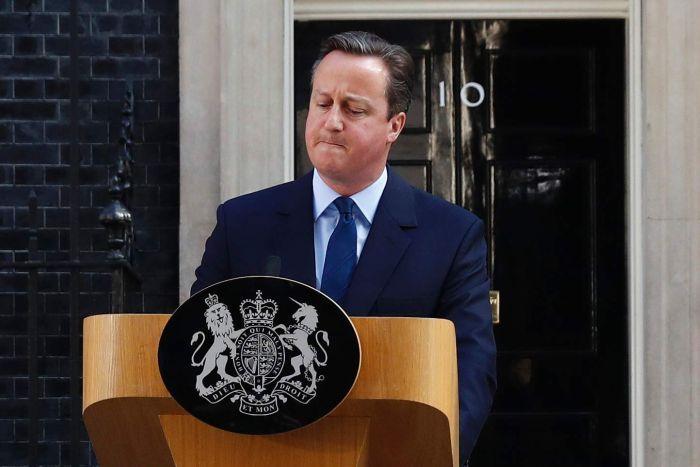 David Cameron speaks outside No 10 Downing Street.