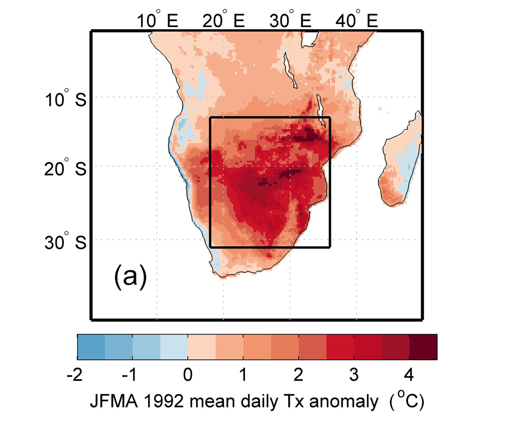 Map of southern Africa heat event in 1992 using ERA5 reanalysis data. Map shows average daily maximum temperatures for January to April, relative to the January-April average for 1981-2010. Shading indicates warmer (red) and cooler (blue) than average conditions.