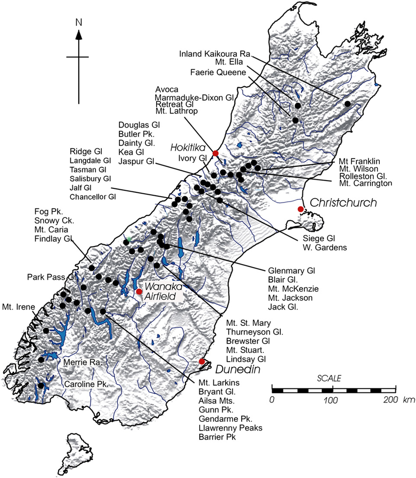 Map of the South Island of New Zealand showing glaciers.