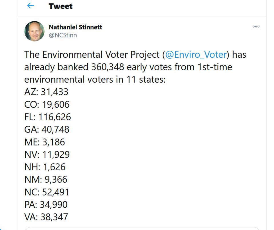 Screen shot of Nathaniel Stinnett tweet, Environmental Voter Project