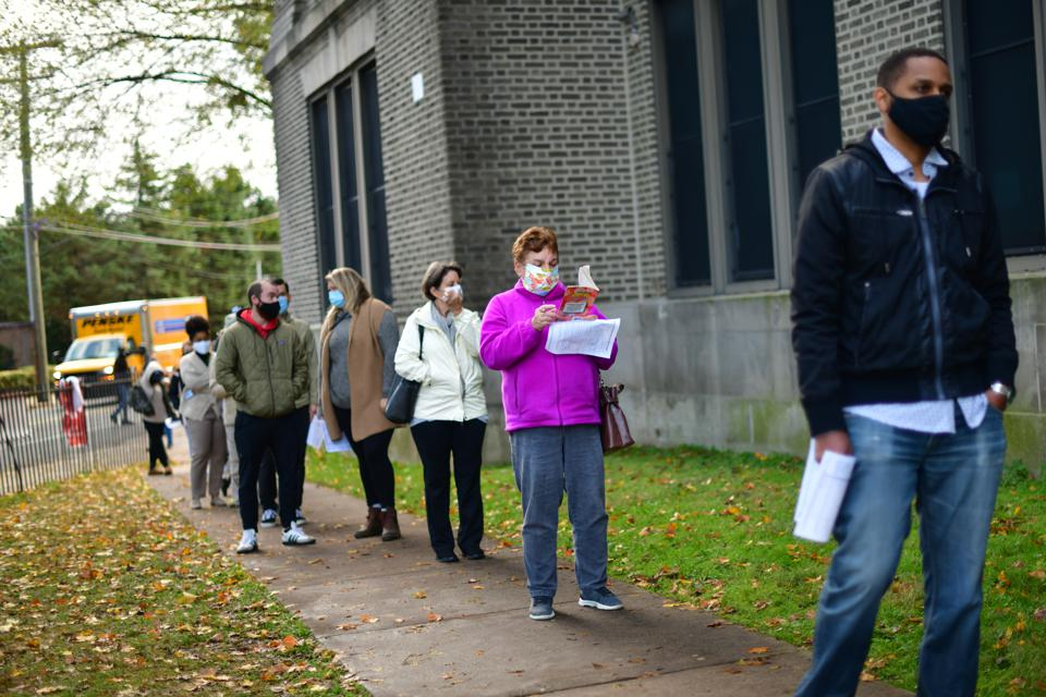 Voters Head To The Polls On Last Day Of Early Voting In Key Battle Ground State Of Pennsylvania