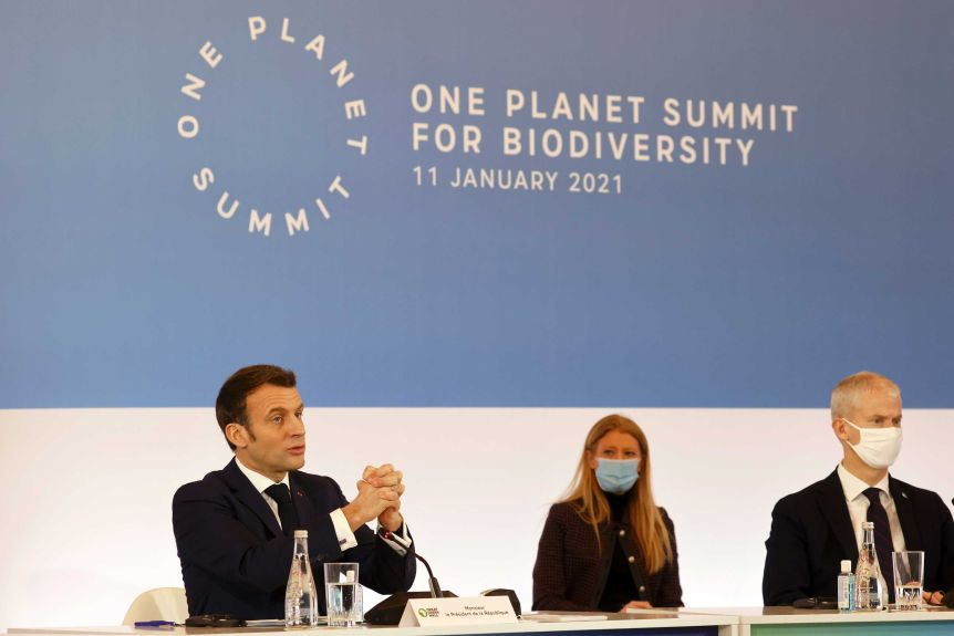 French President Emmanuel Macron speaks at the One Planet Summit