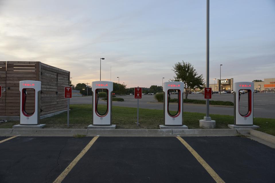 Tesla Supercharger station in Topeka Kansas