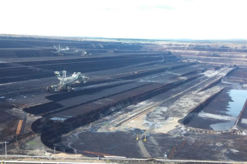 An aerial shot of a large open cut mine.