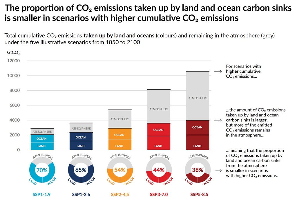The amount of cumulative CO2 emissions taken up by the ocean and land IPCC