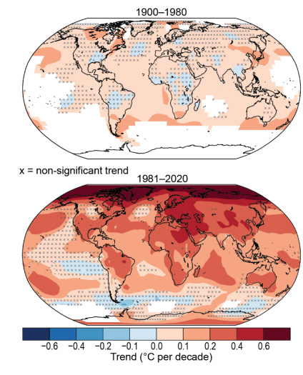 Temperature changes for the periods 1900-80 and 1981-2020